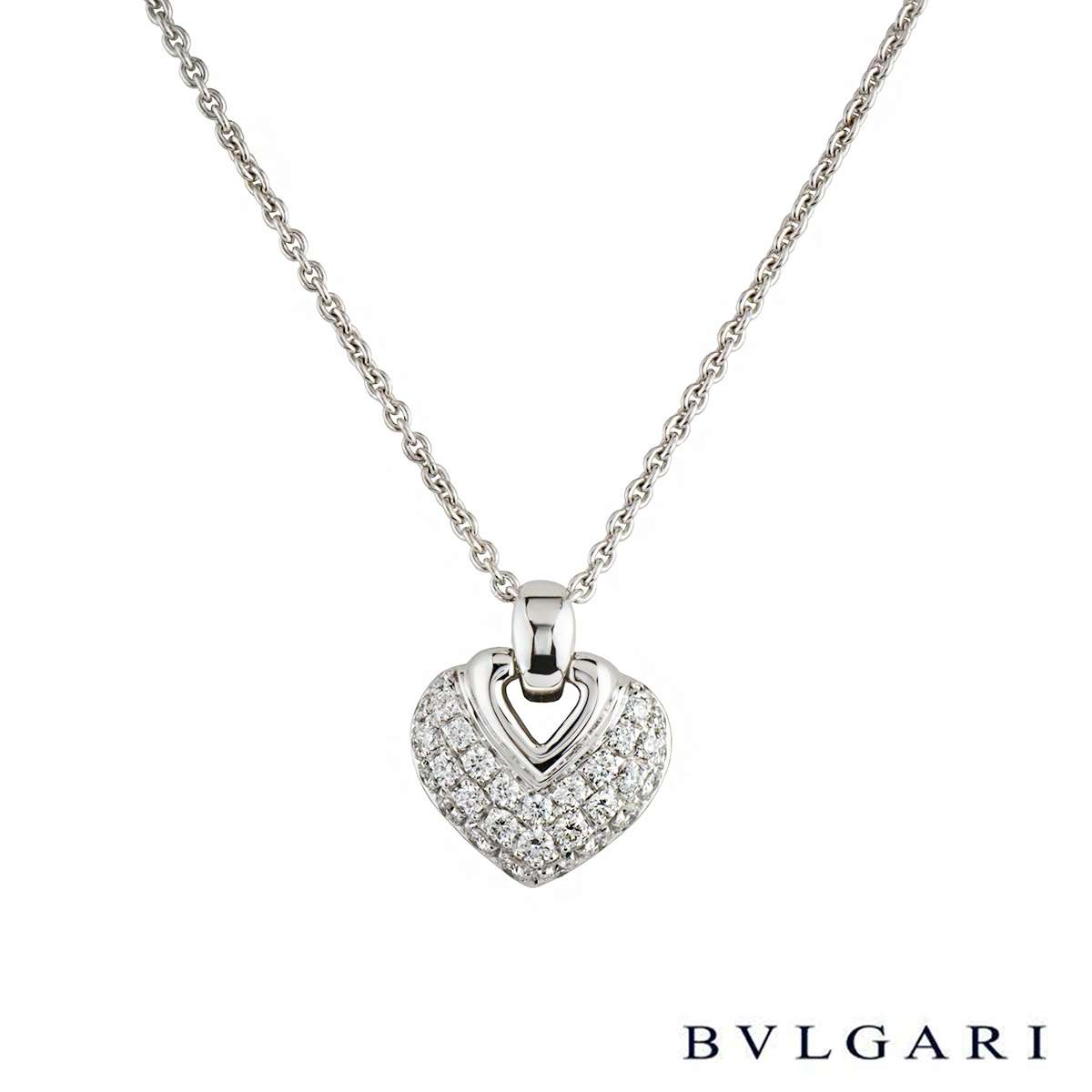 Bvlgari 18k White Gold Diamond Set Doppio Cuore Heart Pendant 1.21ct